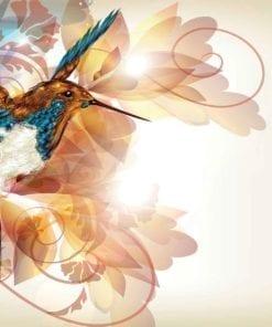 Fototapet med motivet: Fåglar Kolibri Blommor Abstrakt