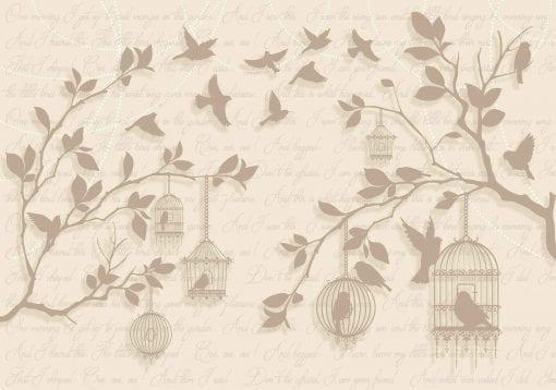 Fototapet med motivet: Fåglar Träd Brun