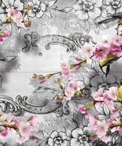 Fototapet med motivet: Fåglar grenar Blommor