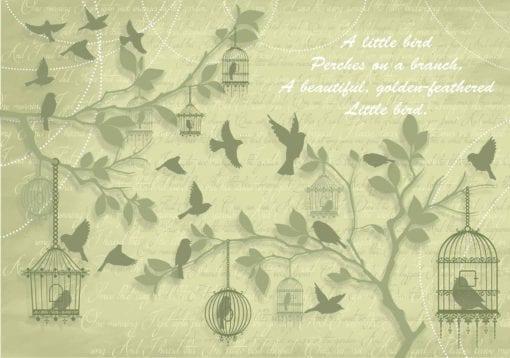 Fototapet med motivet: Fåglar träd Grön