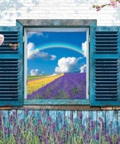 Fototapet med motivet: Fönster Blommor Lavender Fält Regnbåge