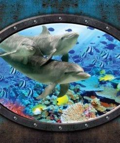 Fototapet med motivet: Fönster Delfiner Koraller Havet UnderVatten