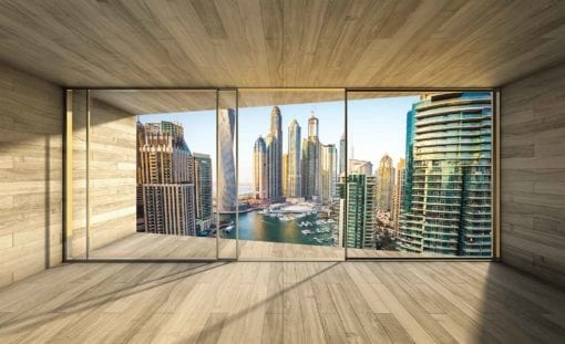 Fototapet med motivet: Fönster Dubai City Skyline Marina