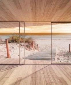 Fototapet med motivet: Fönster Gång Strand Sand Natur