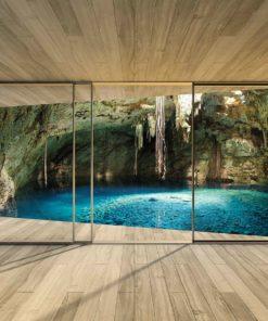 Fototapet med motivet: Fönster Grotto Grotta Vatten Sjö Natur