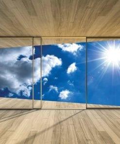 Fototapet med motivet: Fönster Himmel Moln Sol Natur