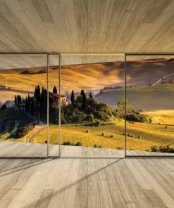 Fototapet med motivet: Fönster Landskap Italian Meadow Kullar