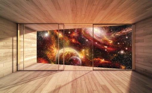 Fototapet med motivet: Fönster Planeter Kosmos Rymden