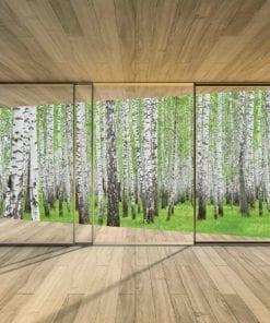 Fototapet med motivet: Fönster Skog Träd Grön Natur