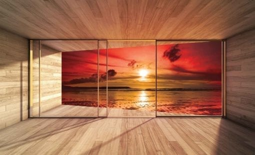 Fototapet med motivet: Fönster Strand solnedgång sol moln