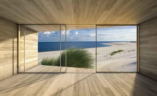 Fototapet med motivet: Fönster Sylt Strand Hav Sand Natur