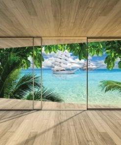 Fototapet med motivet: Fönster Tropisk Strand Paradis Skepp