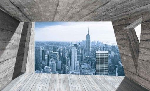 Fototapet med motivet: Fönster staden New York Skyline Empire