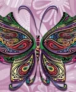 Fototapet med motivet: Fjäril blommor Abstrakt Färger