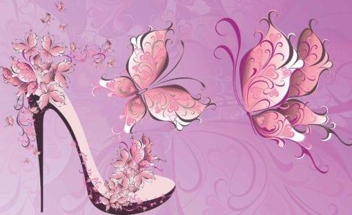 Fototapet med motivet: Fjärilar Högklackad sko