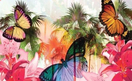 Fototapet med motivet: Fjärilar Palmer blommor Liljor Färger
