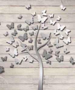 Fototapet med motivet: Fjärilar Träd