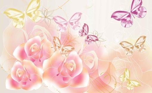 Fototapet med motivet: Fjärilar blommor Ross