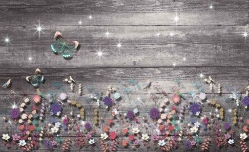 Fototapet med motivet: Fjärilar och blommor