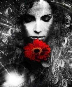 Fototapet med motivet: Flickan och blomman