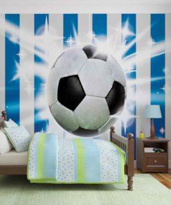 Fototapet med motivet: Football Blå Vit Ränder
