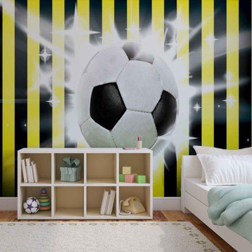 Fototapet med motivet: Fotboll Gul Svart Ränder