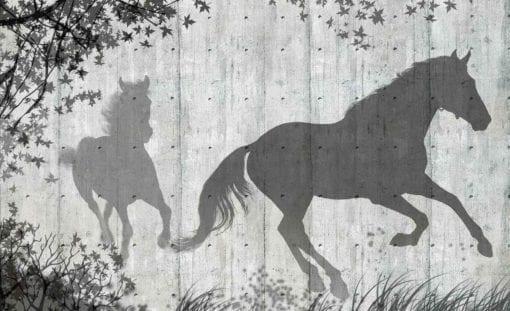 Fototapet med motivet: Hästar Träd Löv Vägg