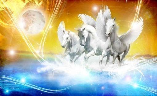 Fototapet med motivet: Hästen Pegasus Gul