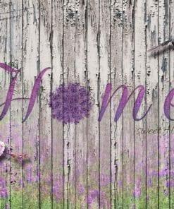 Fototapet med motivet: Hem blommor Fåglar Trä Lila