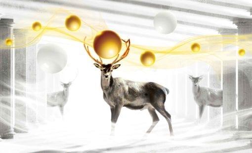 Fototapet med motivet: Hjort Sfär Abstrakt