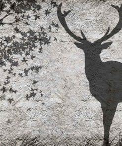 Fototapet med motivet: Hjort Träd Löv Vägg
