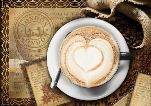Fototapet med motivet: Kaffe Hjärta London Kaffé