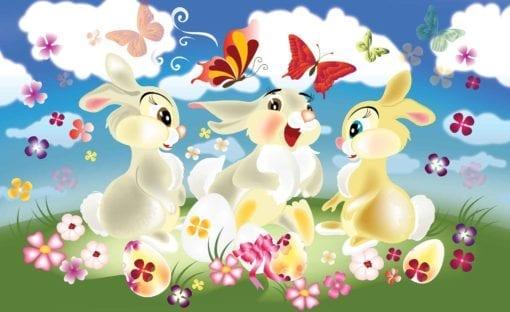 Fototapet med motivet: Kanin Fjärilar Blommor