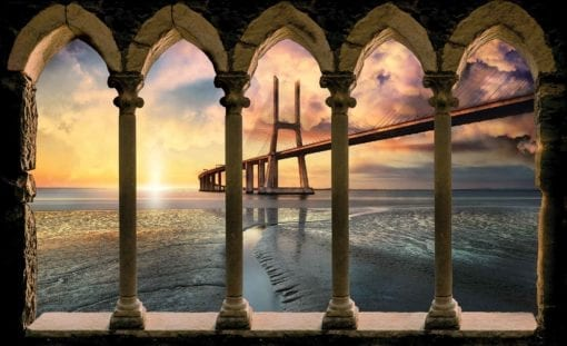 Fototapet med motivet: Kolumner Stad Bro Portugal Solnedgång