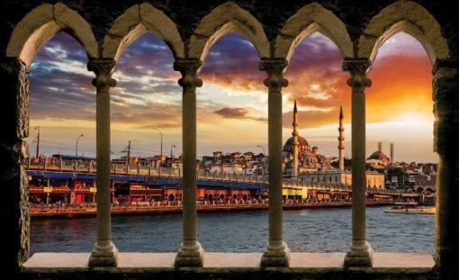 Fototapet med motivet: Kolumner Stad Istanbul Turkiet Solnedgång