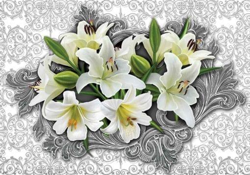 Fototapet med motivet: Liljor blommor mönstrar