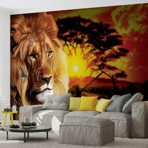 Fototapet med motivet: Lion Solnedgång Afrika Natur Träd