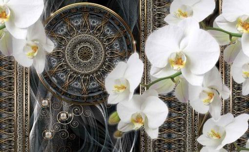 Fototapet med motivet: Lyx Abstrakt Mönster blommor Sfär