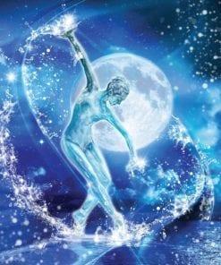 Fototapet med motivet: Månsken månen Stjärnor Ballett Dans kvinna