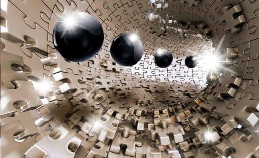 Fototapet med motivet: Mönster Bollar Pussel Abstrakt Modern 3D