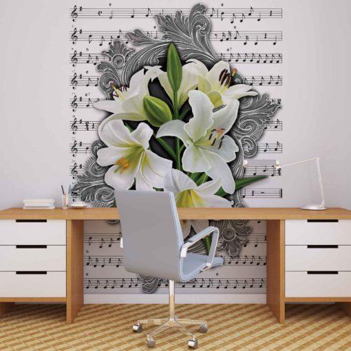 Fototapet med motivet: Mönster blommor Liljor Musikalen noterar