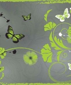 Fototapet med motivet: Mönster blommor fjärilar Natur