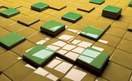 Fototapet med motivet: Moderna Abstrakta fyrkanter Grön Gul