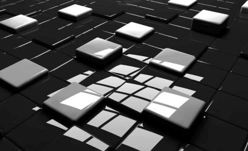 Fototapet med motivet: Moderna Abstrakta fyrkanter Svart Vit