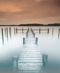 Fototapet med motivet: Natur Vatten Sjö Brygga