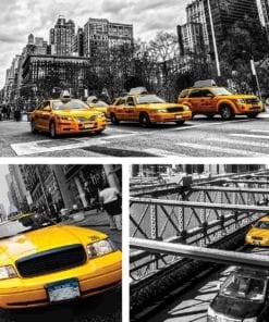 Fototapet med motivet: New York City Gula Taxibilar
