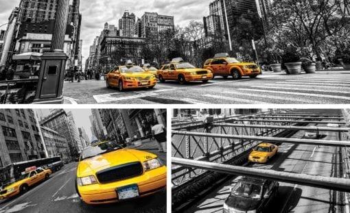 Fototapet med motivet: New York City Gula Taxibilar