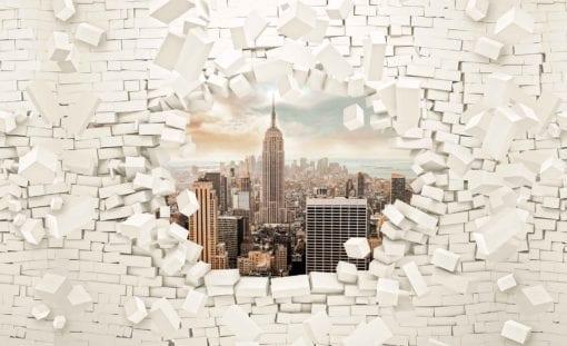 Fototapet med motivet: New York City horisont Tegelsten