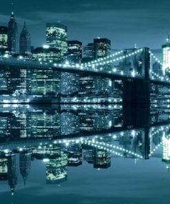 Fototapet med motivet: New York  Skyline Brooklyn Bridge