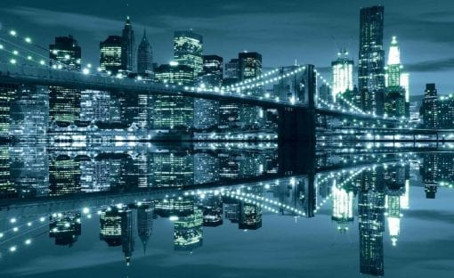 Fototapet med motivet: New York  Skyline Brooklyn Bridge